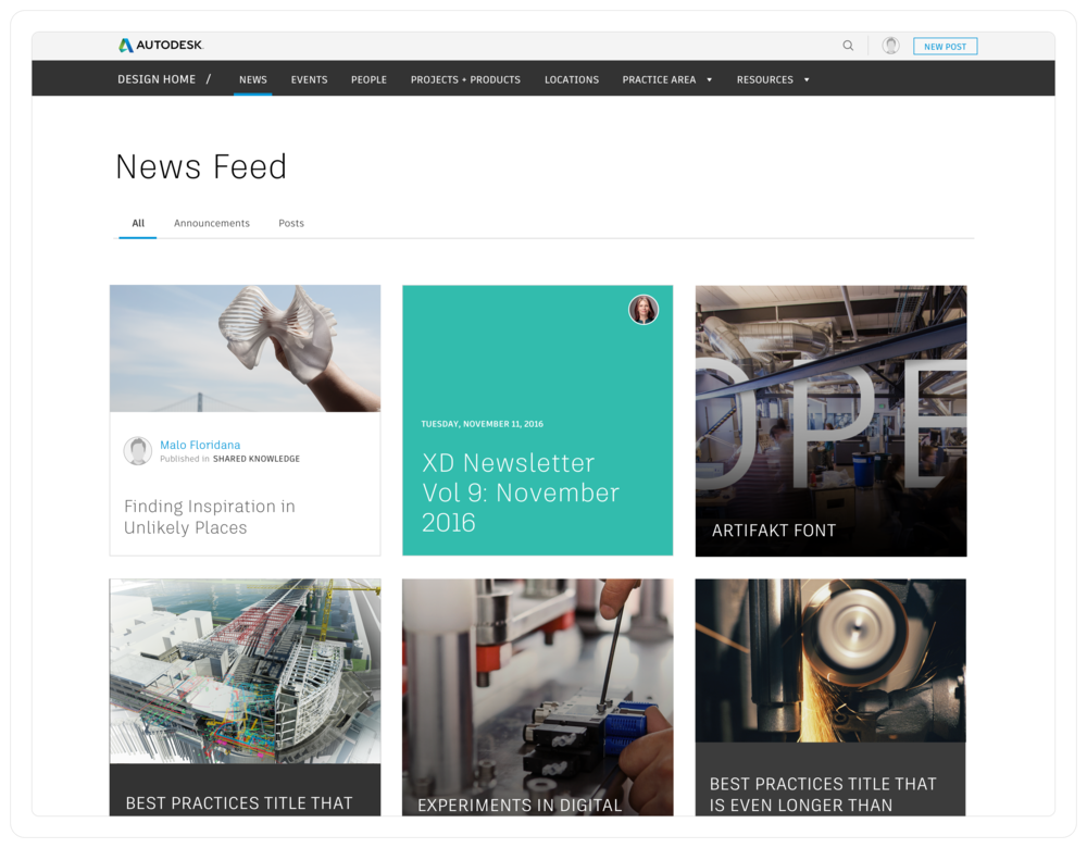 The news page synthesized announcements and posts published internally at Autodesk design.