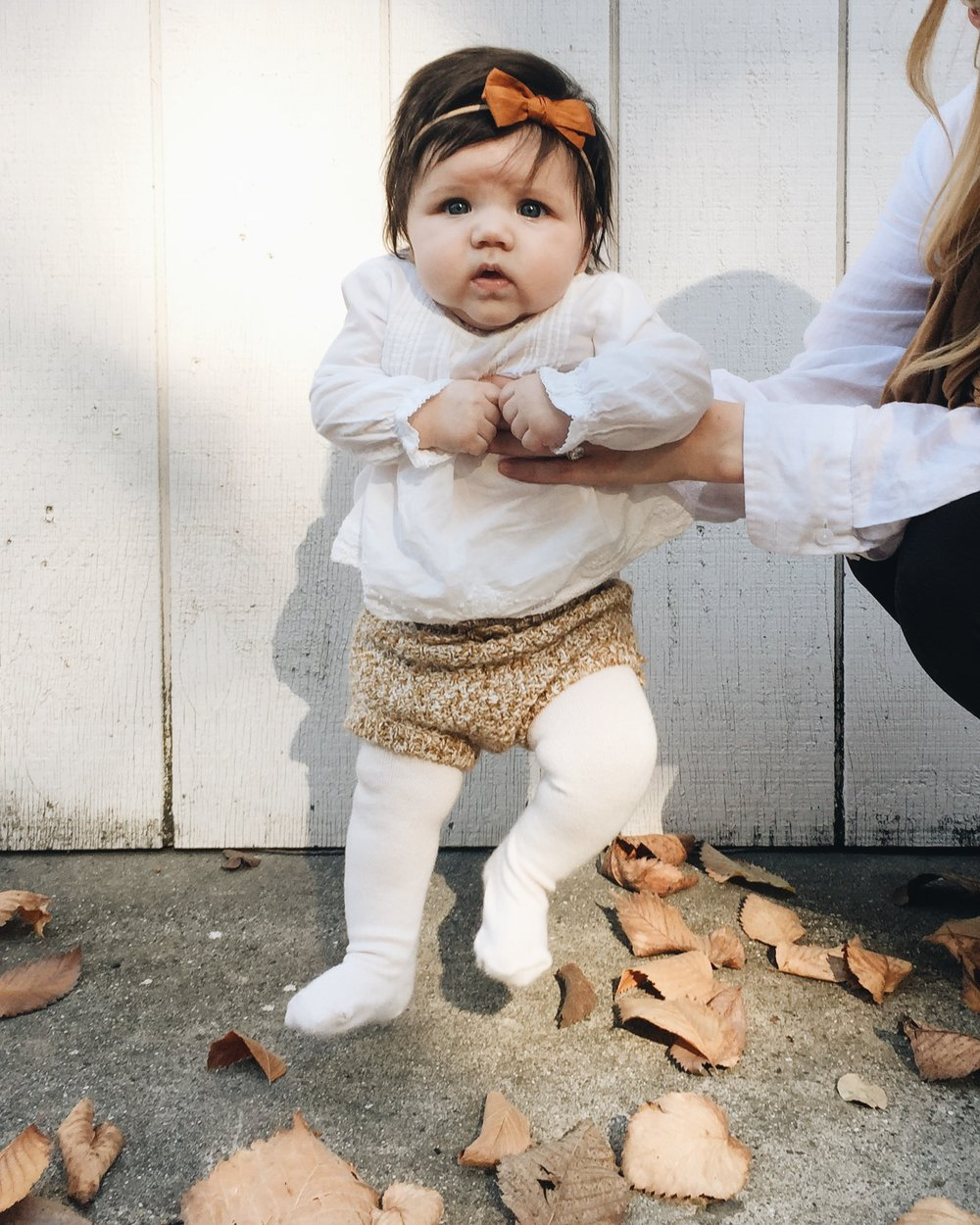 Nora Jane's bow from @joeymaehandmade on Instagram, outfit from Zara, cute face from her mama and dada 😜