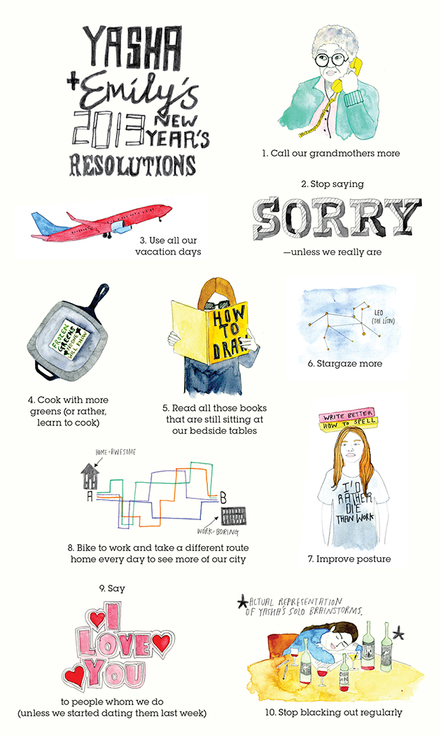emily anderson The Usual illustrations new years resolutions