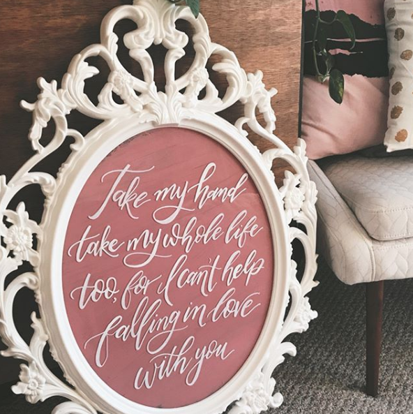 Can't Help Falling In Love by Elvis Presley - First dance song lyrics. Clear acrylic with back painted blush in ornate mirror