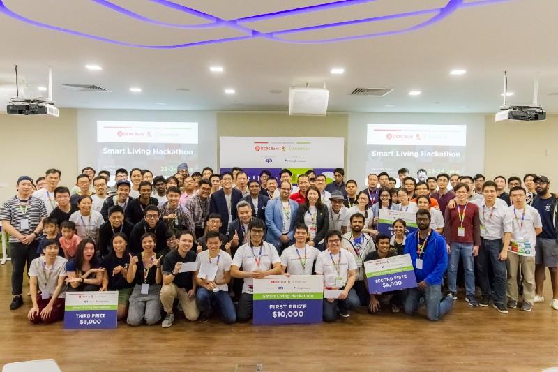 Participants at the  Smart Living Hackathon