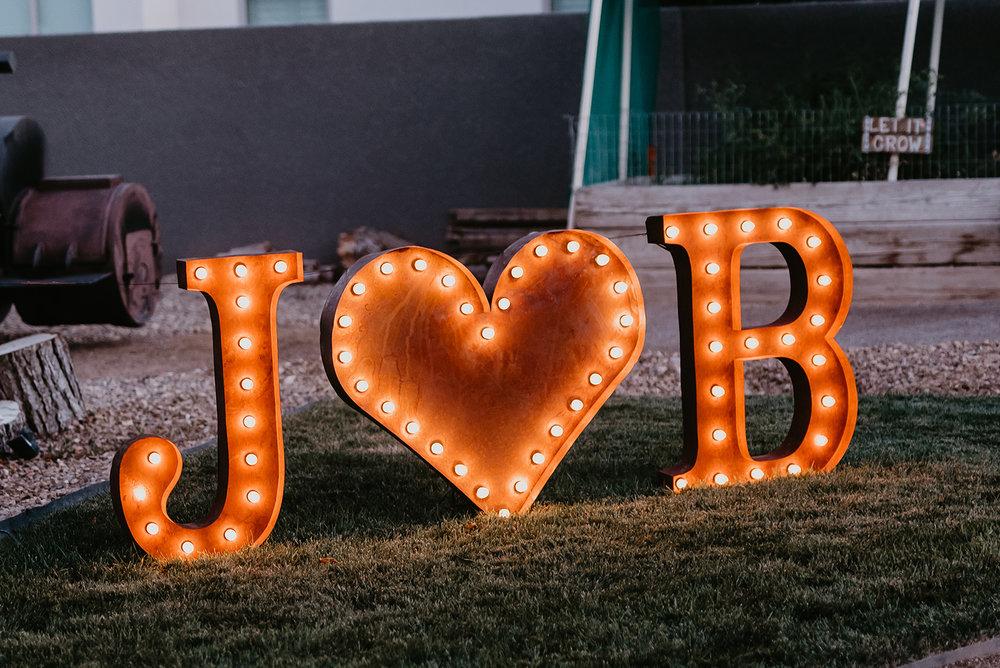 Backyard Las Vegas Wedding - Bride and Groom Sign