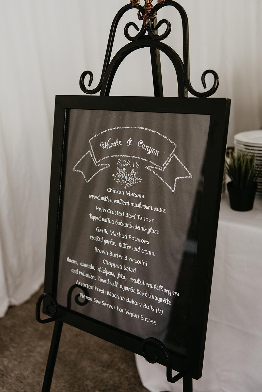 Thompson Wedding in Seattle, Washington - Reception Sign