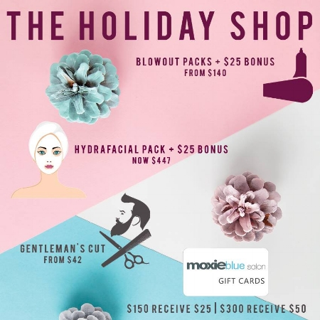 Visit the Moxie Blue Holiday Shop  all through December 2018!