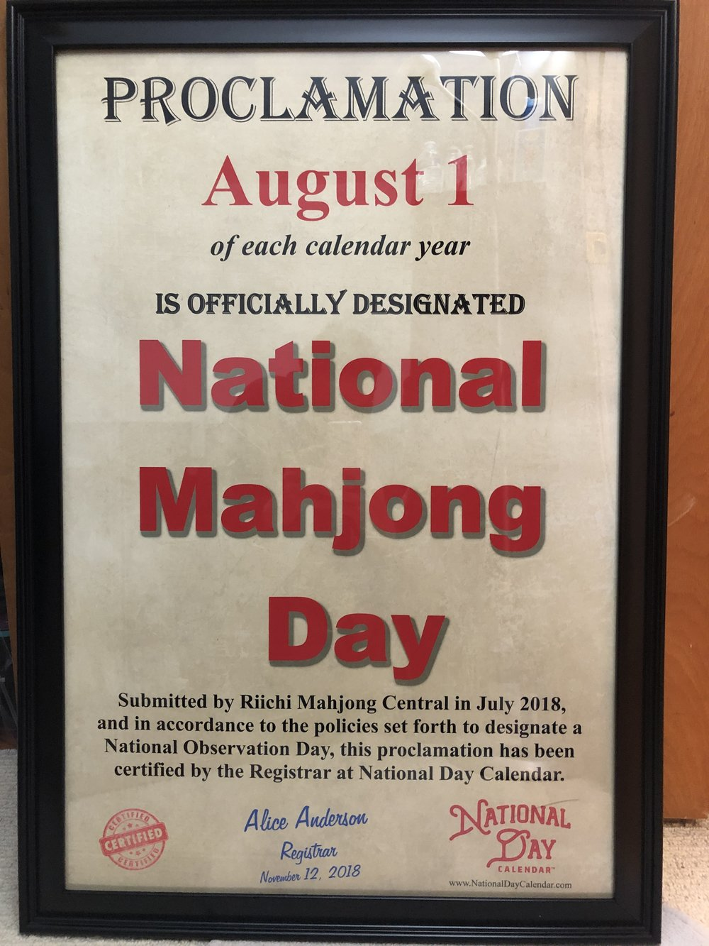 """So yes, it is officially announced!  National Mahjong Day  is going to happen for us here in the States now! We also received a nice little poster to make it a little more """"official"""" as well!"""