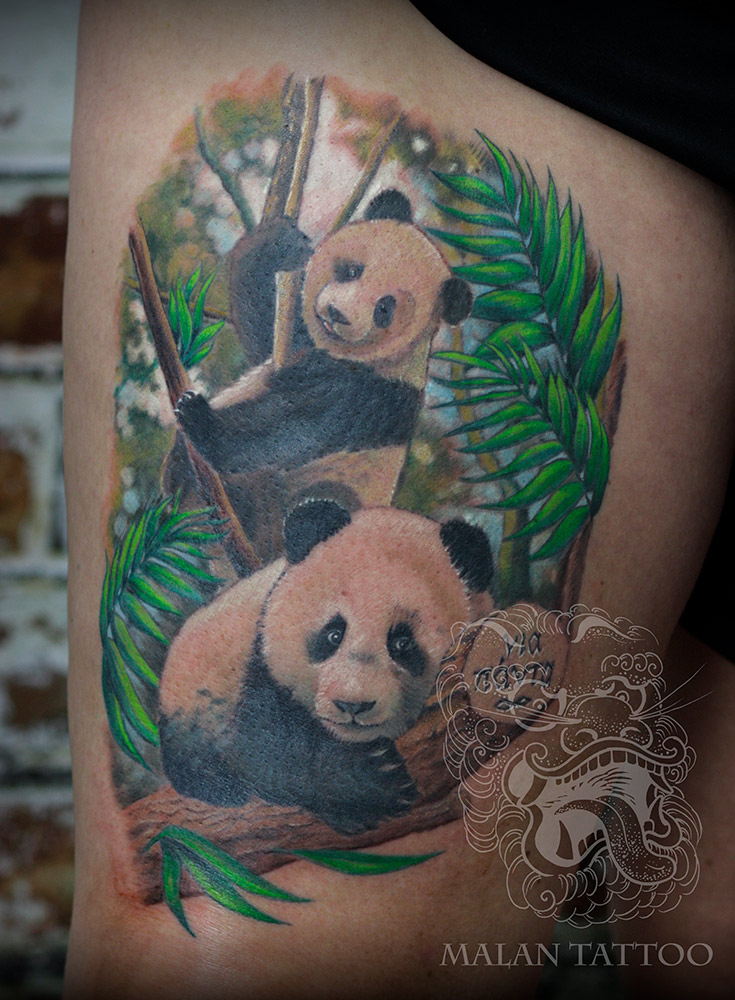 This very personal animal tattoo reflects on nature of panda bears.