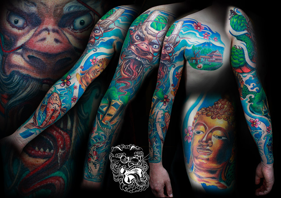 In this asian themed sleeve in full color, I would like to show You that form the very beggining of my tattooing I was concerned with flow and uniqness of design. All the elements I painted myself prior to tattooing.