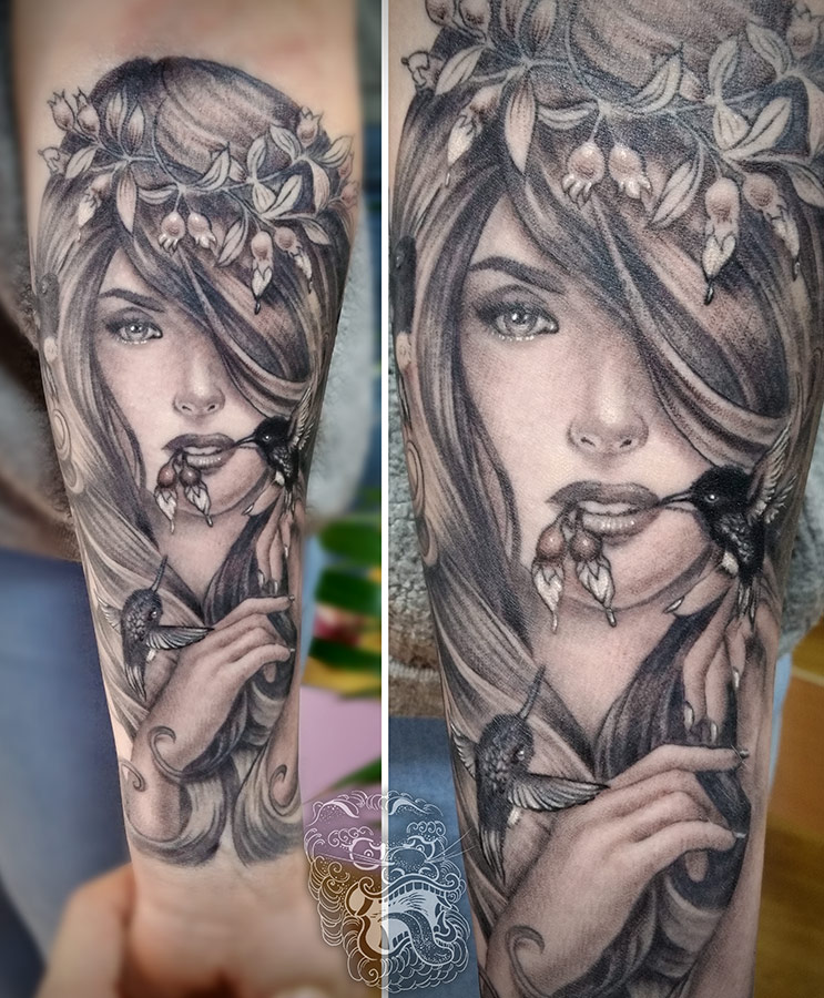 This reproduction was done on the tiny girl's arm. Size quality brought another level of complication. This picture shows a healed piece. With proper planning of tattooing sessions, this level of detail was possible.