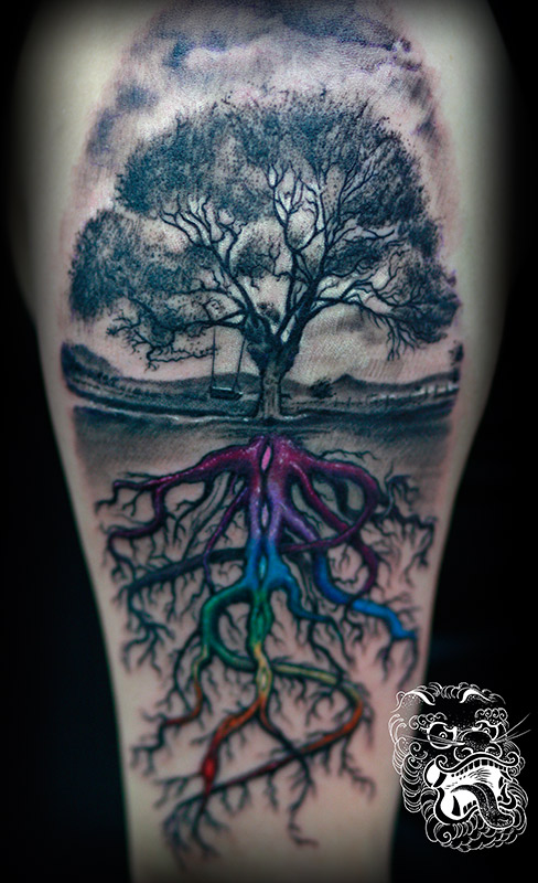 This tattoo tells the story of esoteric roots. But all the elements have meaning here, including wooden swing. Different colors stand for chakras. In tattooing, we often face a problem of meanings versus economy of components. I feel that surreal approach is often the best solution.