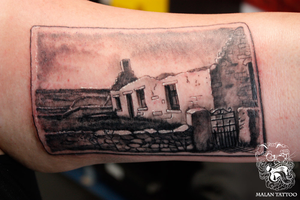 This tattoo was one of my first realism tattoos I ever did. Customer requested the particular type of cottage house. I remember I had to invent almost everything straight from my imagination, as still stay true to Irish cottage house landscape. Since that time I learned and my tattooing changed a lot, but I feel this piece was an important one. As it nicely shows my influences and direction I took later on.