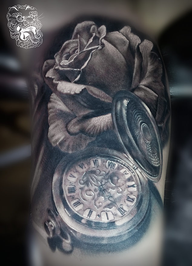 In this design, I played a bit with perspective. Petal over the watch, and then again lid over the rest. I believe that each artist should look for appealing qualities that build his taste and style. For me, playing with perspective and little add on's like in here, work well. Add a hint of hiper-realism tattooing, and bum - here is my style!