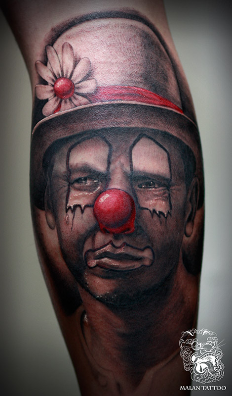 For this tattoo, I took a picture of my customer and then painted over it to create a sad clown. The trick was to keep facial ornaments and changes and stay true to man's face at the same time.