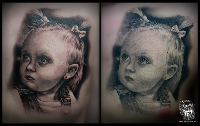 This picture shows the difference between fresh and healed tattoo portrait. Artist has always to consider healing process in the creation of the tattoo.