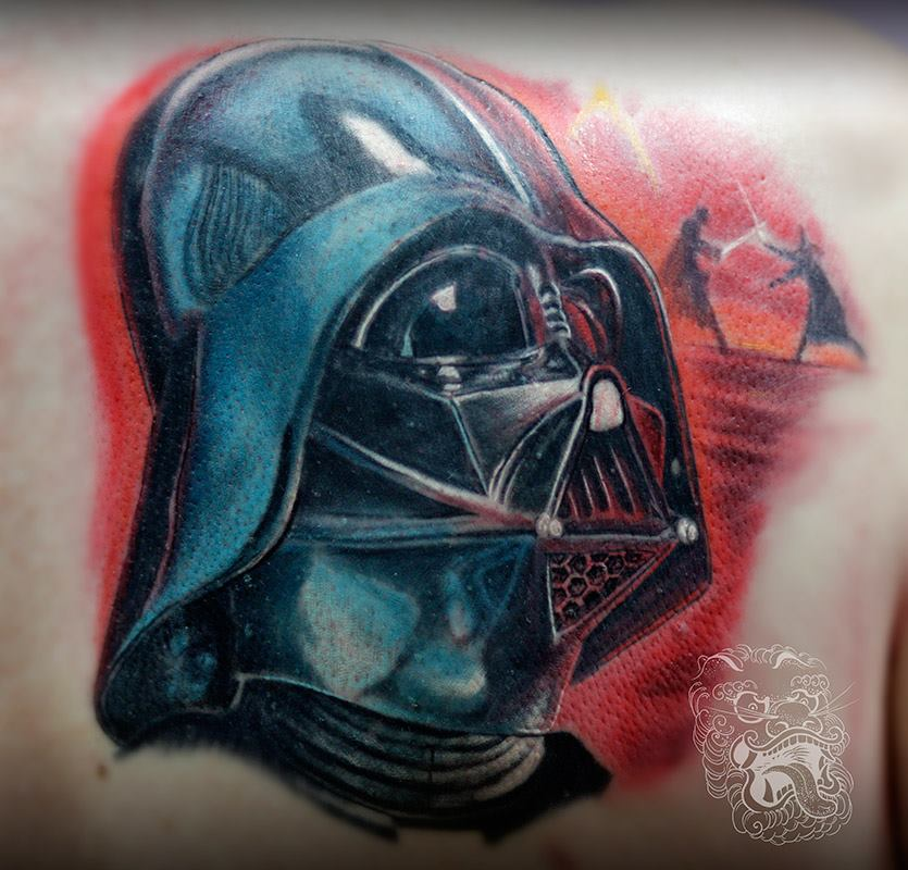 In the picture above, I tattooed Darth Vader to obscure old, unwanted tattoo. Heavy black of Vader's armor serves correctly for this purpose.