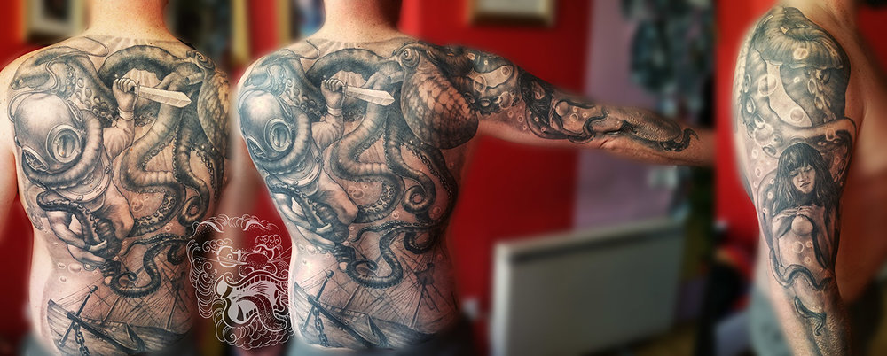 Not every first tattoo has to be small. Some of us save our bodies for best, big pieces of art. That was the case here. For my customer, I hand painted this diver fighting octopus scene first. And after approval, we started this long project.