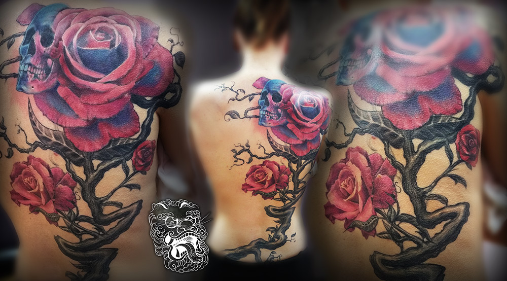 Part of the brief for this project was to create flowy, unsymetrical composition. Under this back tattoo, hides some old unwanted tattoo.