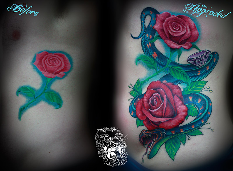In this case, my task was not only to make the rose look better but also to change design into a more masculine one. I decided to go for a snake, that will use the flow of the body, but at the same time will add a bit of power to the tattoo.