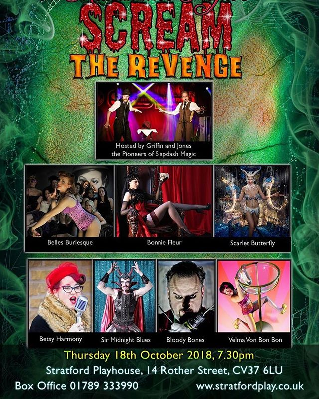 "Only 4 weeks and a day til myself and @icecrystalproductions take to the stage at @stratfordplays in Stratford upon Avon and give you a spooky Halloween ""A Midsummer Night's Scream - The Revenge"", hosted by the fabulous @griffinandjones .  Think #burlesque, #cabaret, #comedy, #magic and so much more! . . Tickets are on sale at our website www.velvetboxoffice.com and we look forward to seeing you all there on the 18TH OCTOBER ❤️ . . #midsummernightsscream #stratfordplayhouse #stratforduponavon #halloween #oct2018 #nightout #variety #show #theatre #velvetboxoffice #spooky #donotmiss #entertainment #poledancing #charity #freakshow #extravaganza #bellesburlesque"