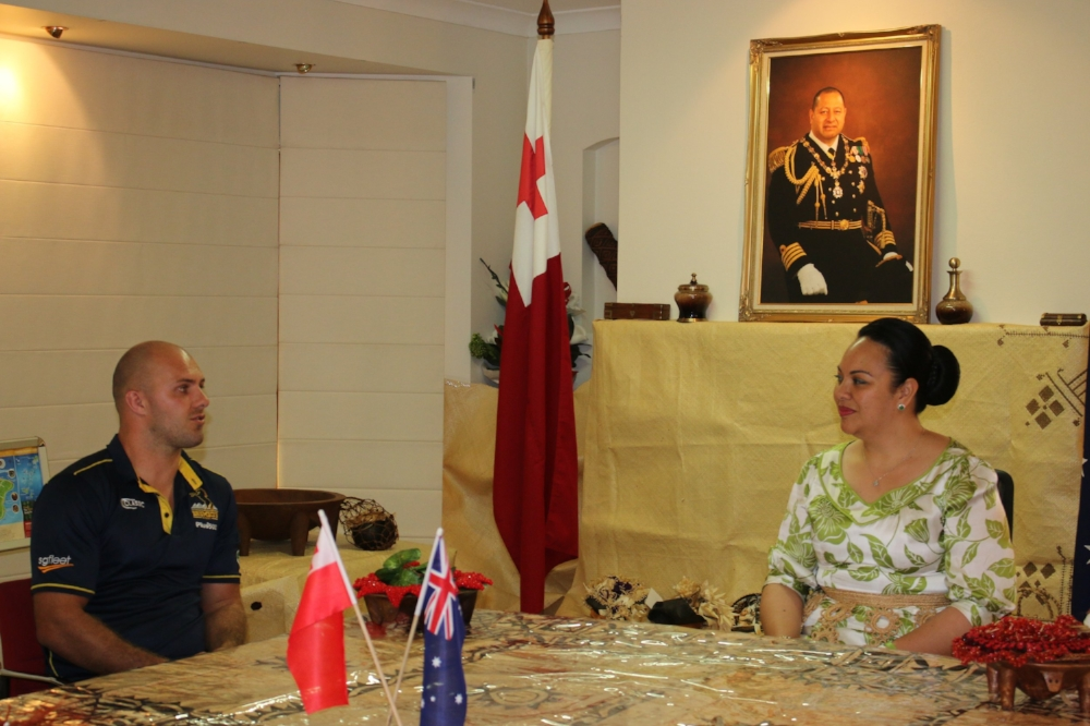 Founder Lachlan McCaffrey meeting with Princess Angelica at the Tongan High Commission pre YIU 2018 trip