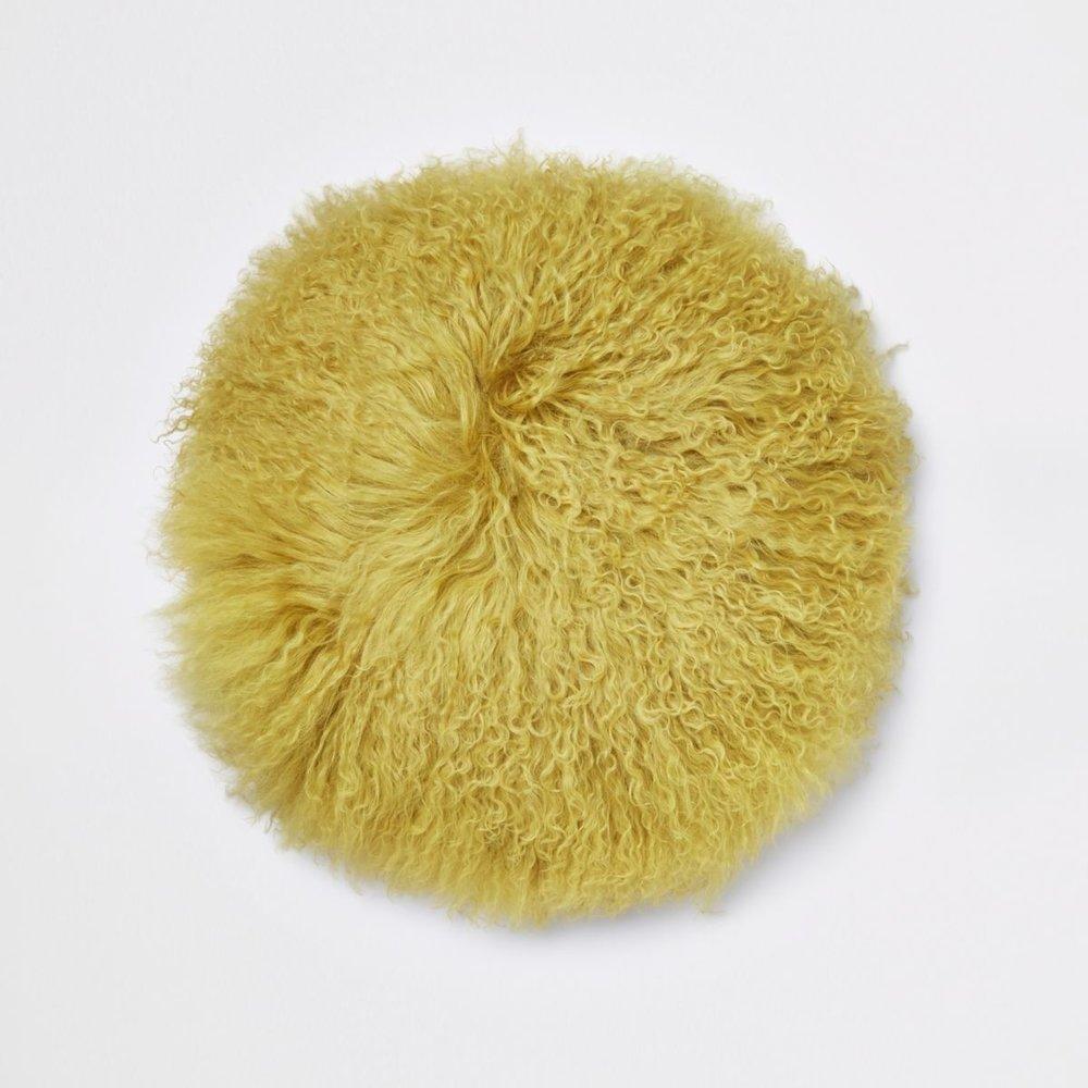 Yellow Mongolian Round Cushion, £45
