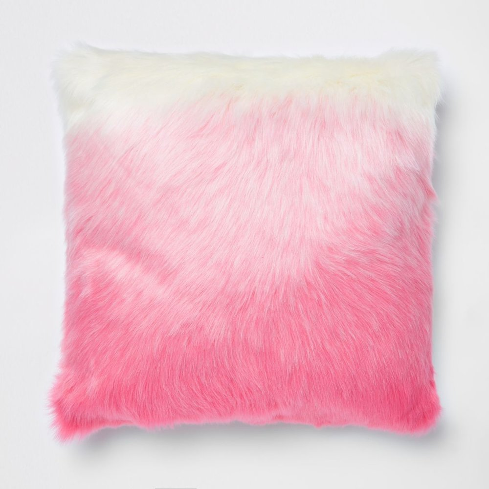 Pink Ombre Faux Fur Cushion, £45