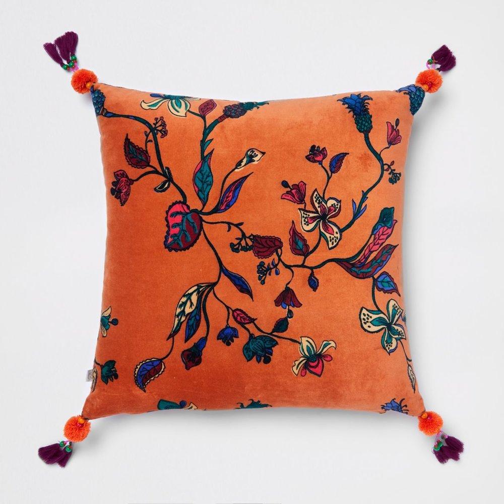 Orange Floral Velvet Cushion, £30