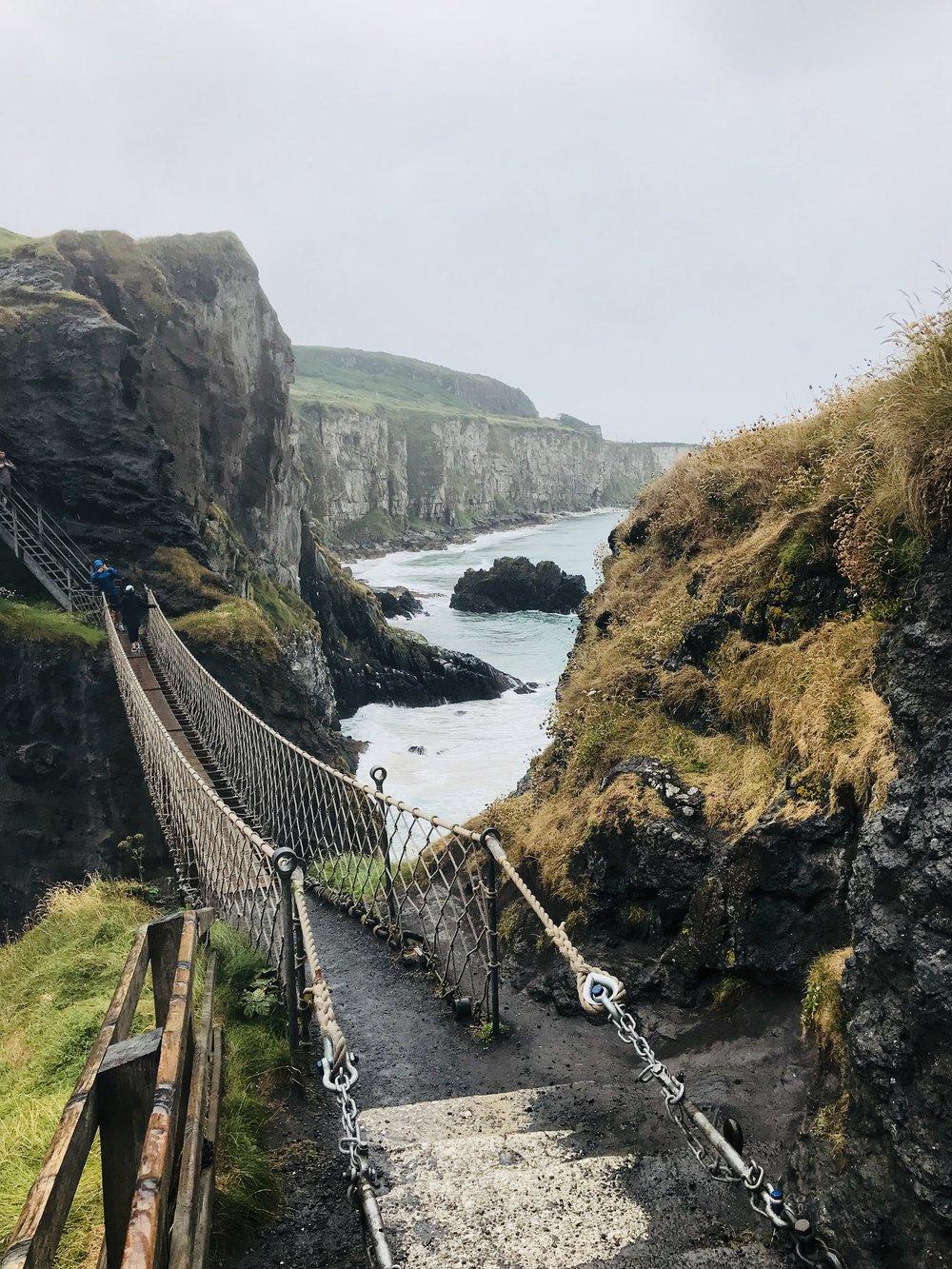 Crossing the Carrick-a-Rede Bridge