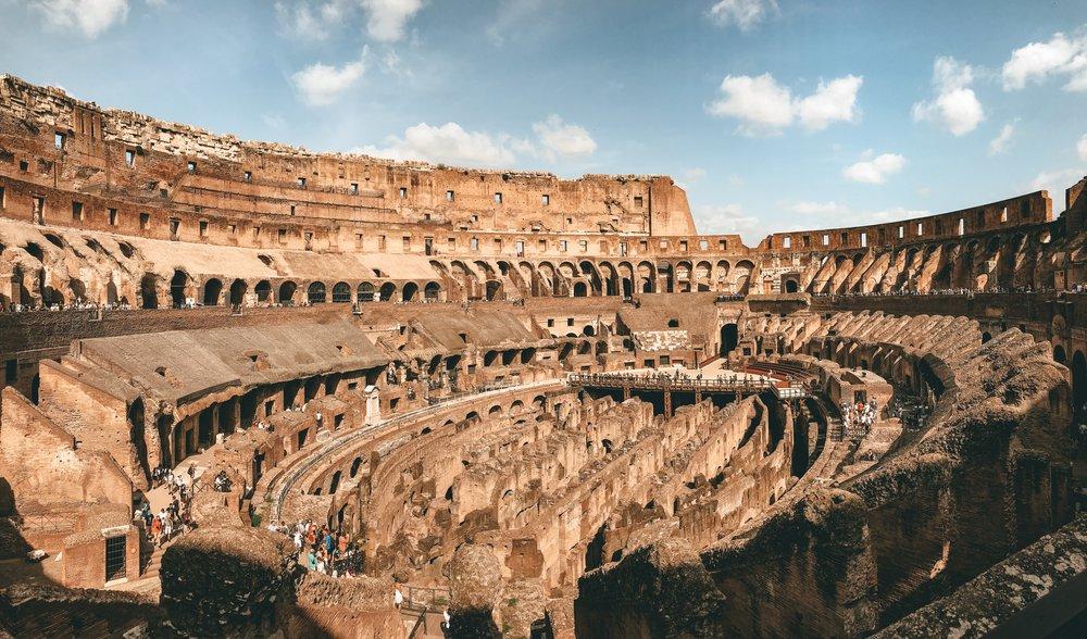 """The impressive interior of the Colosseum (or the """"Flavian Amphitheatre"""")"""