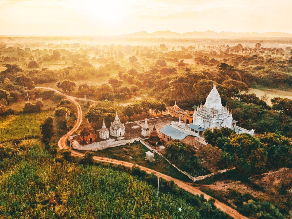 Sunrise over Bagan from a hot air balloon