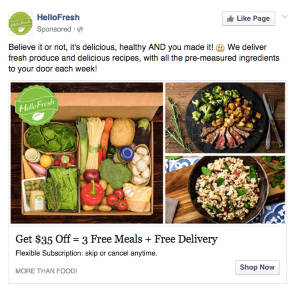 HelloFresh Facebook ad