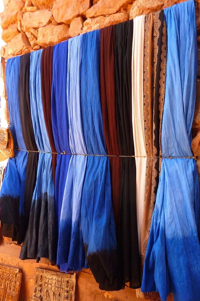 Indigo fabrics drying in the sun in Morocco. Credit: Flickr