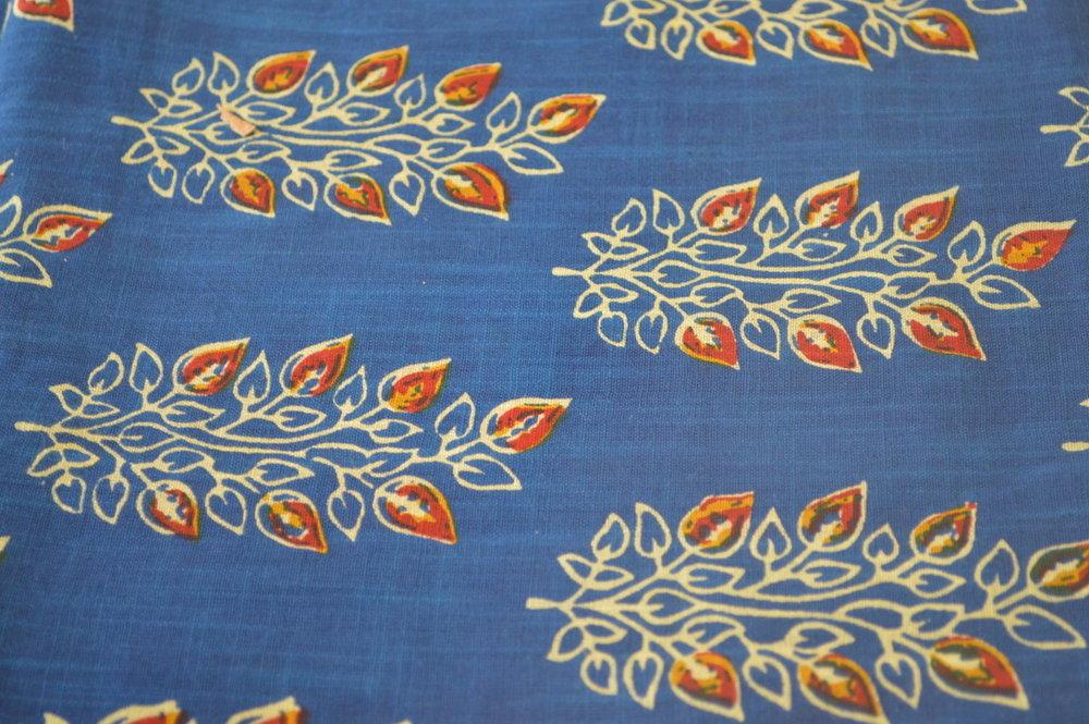 Blue Khadi Flowers