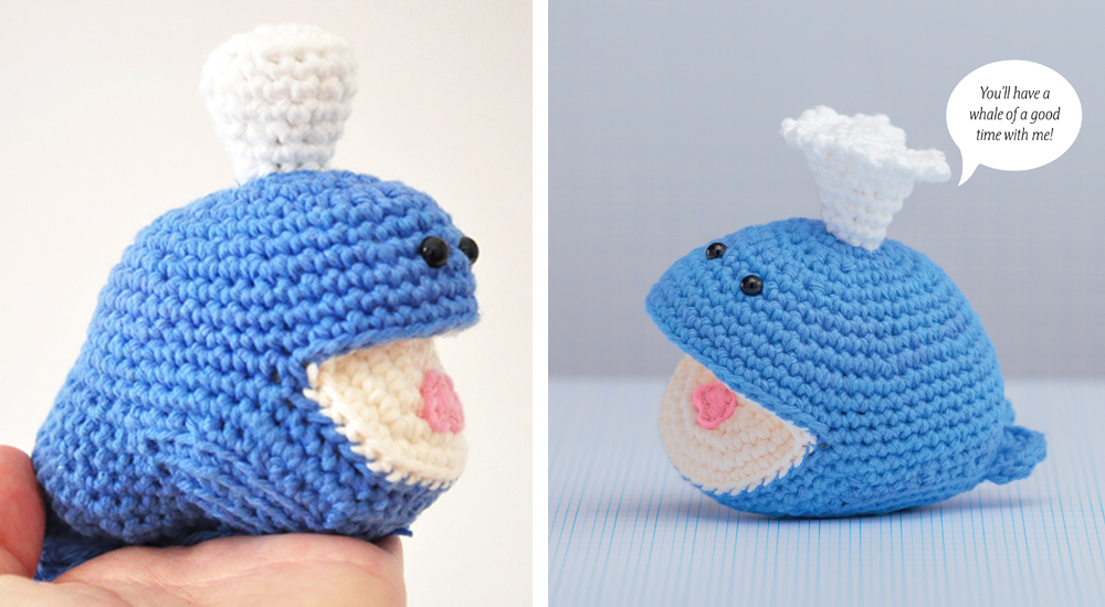 Test whale on left, the final version on the right.  Image from Happy-Gurumi by Vanessa Chan, Martingale, 2015; used by permission. Photo by Brent Kane. All rights reserved.
