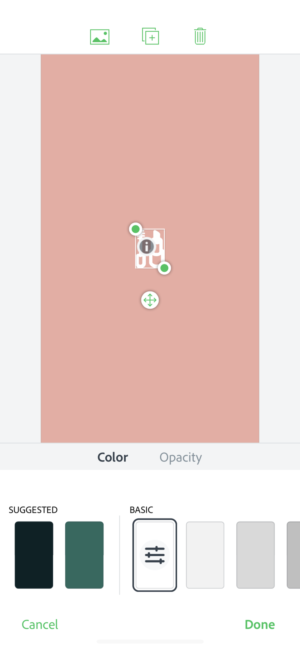 Step 9: - Size the icon and center it. Again, this is super easy as it's just drop and drag.