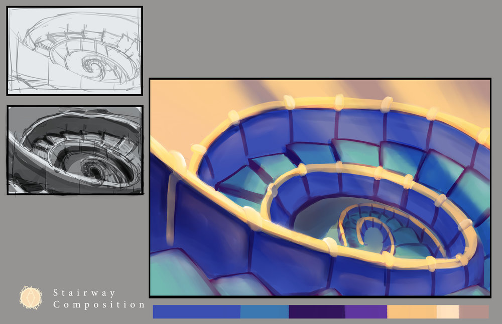 Environment Design - Pieces in this section vary between sketches, tonal studies and finishes products.