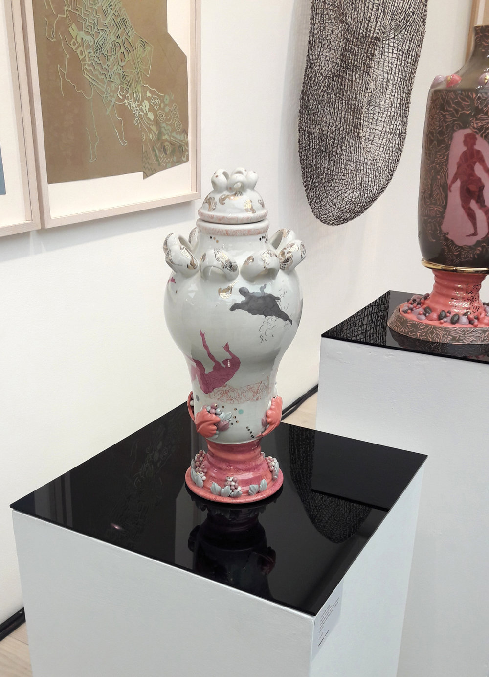 Collect 2018, Jaggeddart Charlotte Hodes Filigree Gold Leaves Underglaze slips, hand cut enamel transfer on earthenware