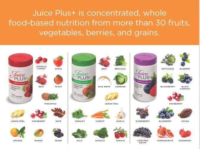 Juice plus is concentrated, whole food- based nutrition from more than 30 fruits, vegetables, berries and grains including elderberry.