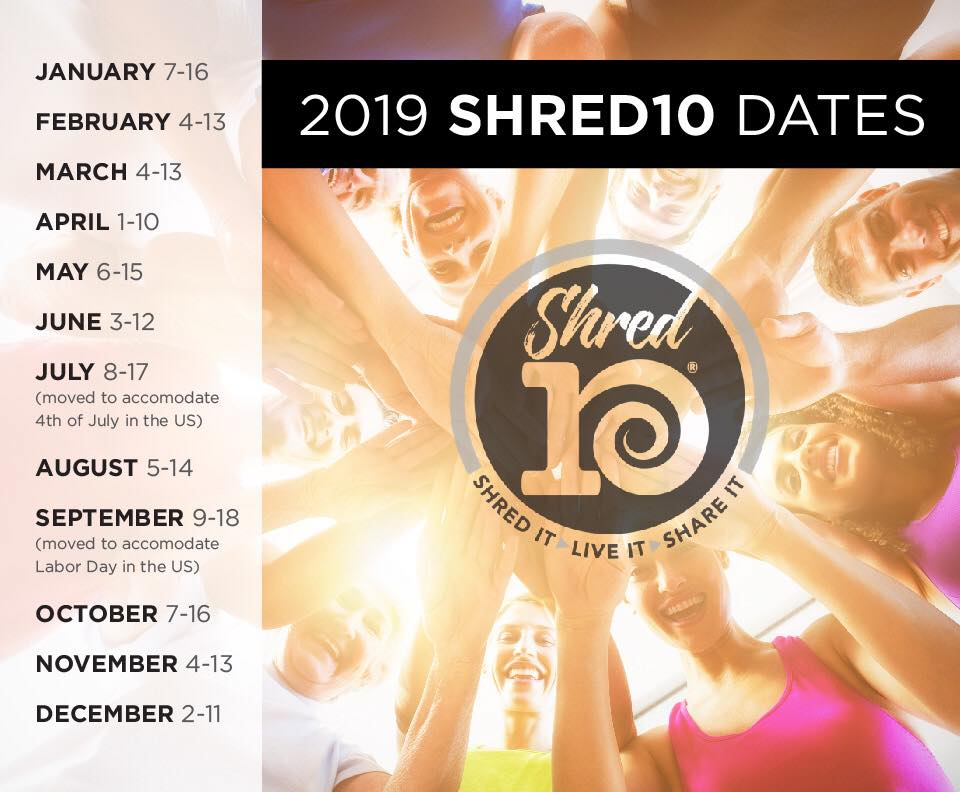 2019 juice plus shred10 dates