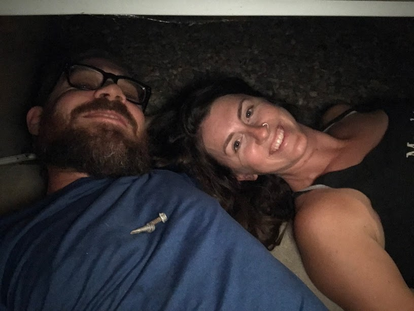 Here we are at 11pm at night working in the underbelly of the RV.