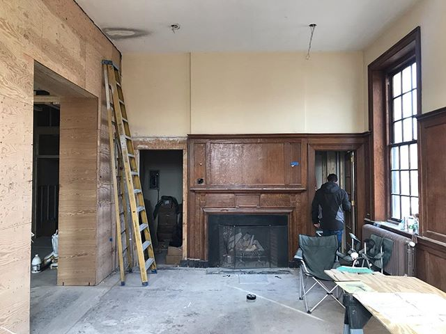 closing in, next stop finishes (like floor to ceiling bookcases to the left). and yes, the ceiling is over 13 feet high. the balmoral, andover ma. #jkaandover #thebalmoral #andover #andoverma