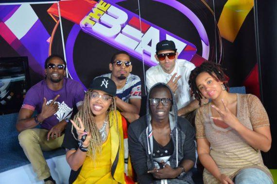 "Suzi Analogue with NL Team Uganda (Frankie Perez, Rabbi Darkside and MADlines) on Uganda's ""NTV the Beat"" show, with hosts Douglas and DJ Bryan"