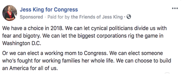 Jess King, candidate for Congress in PA-11, displays race-class messaging language as a tool to counter racially divisive rhetoric.
