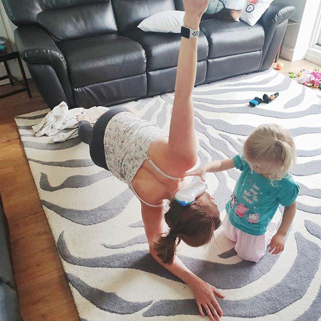 Making some important phone calls during my workout this morning. #multitasking #momlife #yoga