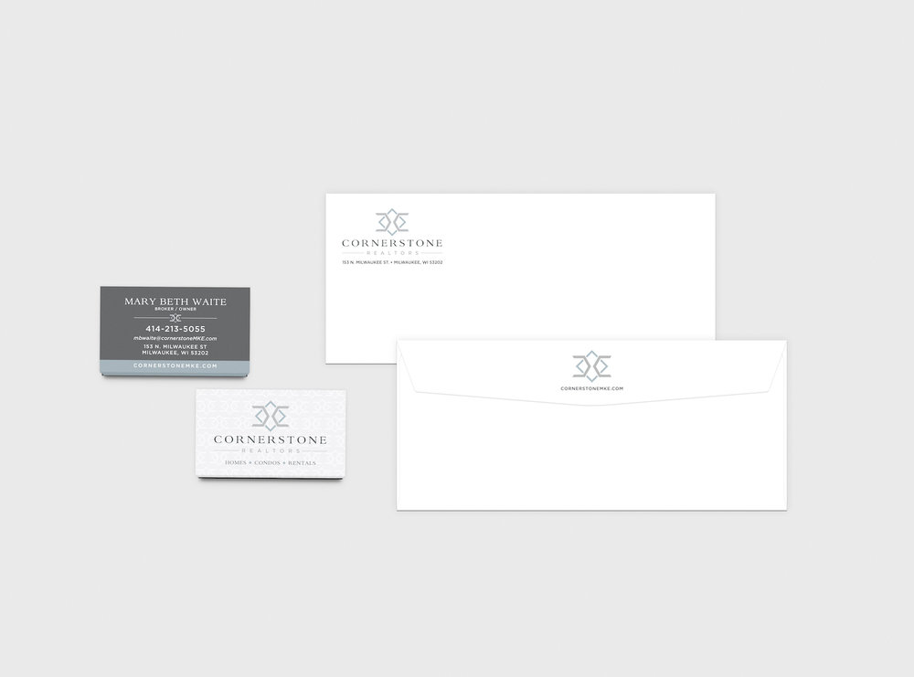 Golden-Antler-Graphic-Design-Milwaukee-Web-Branding-Marketing-Wisconsin-Cornerstone-Realtors-Logo-Stationary-Envelopes-Custom