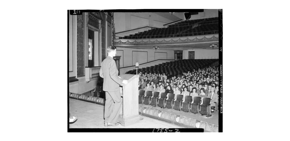 Speaker at a teacher's conference, 1944