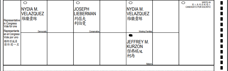 Sample ballot for NY CD 7