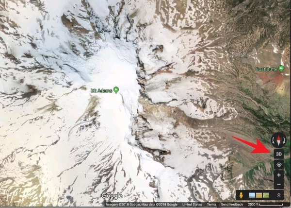 Mt. Adams in 2D Google maps, satellite view. More useful! Click