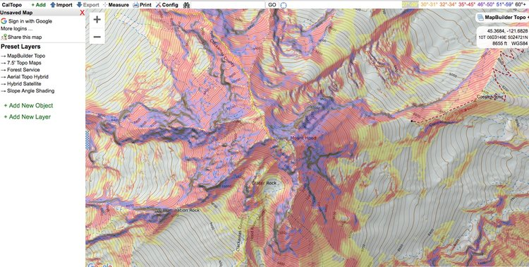 Caltopo pro tip - slope angle shading — Alpine Savvy on