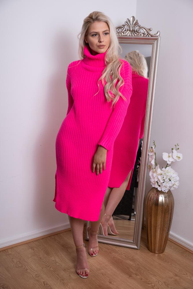 bc97c503c1e Missi knitted midi jumper dress pink — Miss Attire