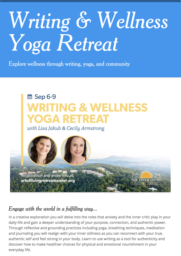 Fabelhaft Last call for my writing and wellness retreat in North Carolina &CH_74